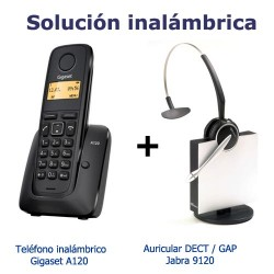 KIT solucion inalambrica Gigaset A120 Azul + Auricular supletorio Dect Jabra 9120 GAP