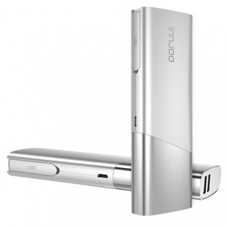 Power Bank Innjoo 10400 mAh color blanco plata con conector Lightning / micro usb