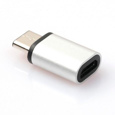 Adaptador Usb 3.1 Tipo C a Micro Usb 2.0 plata