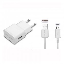 KIT CARG.RED Usb (2A MAX)+CONEX. MICRO Usb BLANCO